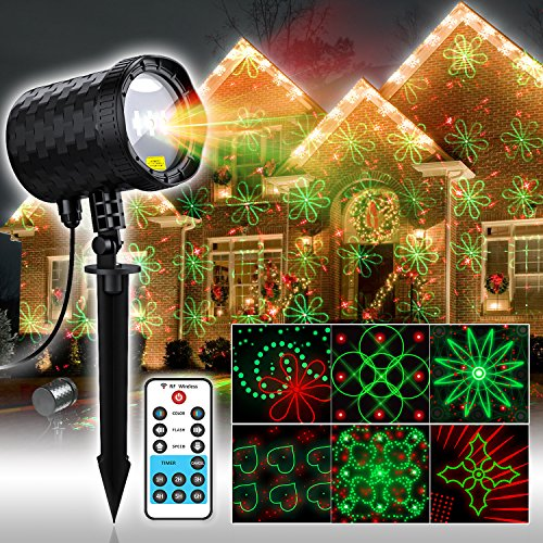 COOWOO 20 Patterns Laser Lights, Red&Green Landscape Industrial Grade Laser Light with RF Remote Control for Halloween,Thanksgiving,Christmas,Holiday Decorations -