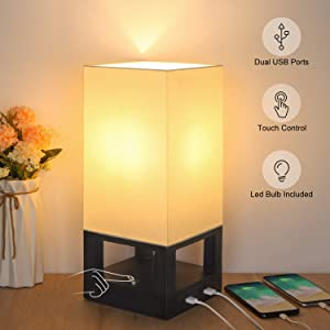 Bedside Touch Lamp with Dual USB Ports, Boncoo Dimmable Touch Control Nightstand Lamp Square Fabric Shade and Wooden Base Asian Side Table Lamp for Bedroom, Living Room, Office, 6W LED Bulb Included