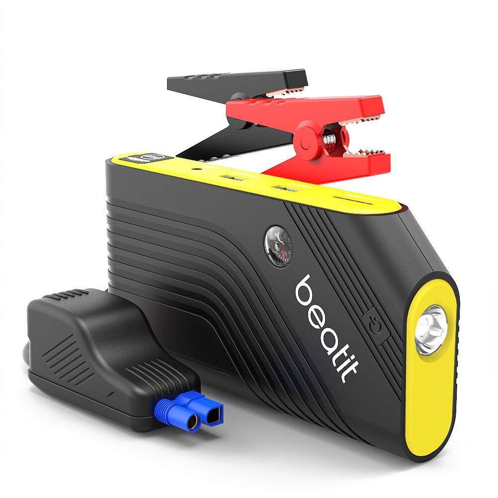 BEATIT 600A Avviatore di Emergenza Auto (per Motori Benzina Fino a 5.5L e Diesel da 4.0L) Starter Batteria Powerbank 14000mAh Dual Uscita USB, Torcia a LED SOS con Bussola (Giallo) B9
