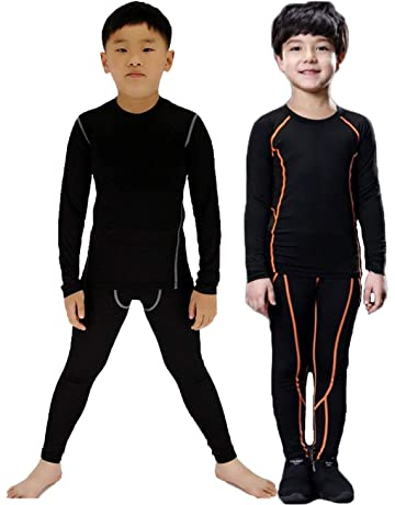 CLOUSPO Kids Girls Boys Thermal Underwear Set Long John and Long Sleeve Top Base Layer Sports Compression Suit for Workout