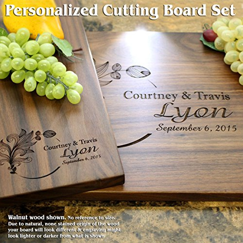 Floral Design Personalized Engraved Cutting Board Set- Wedding Gift, Anniversary Gifts, Housewarming Gift,Birthday Gift, Corporate Gift, Award, Promotion. #403