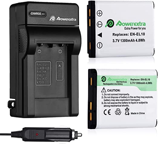 powerextra 2 x replacement nikon en el10 battery and charger compatible with nikon s60 s80 s200 s205 s210 s220 s230 s500 s510 s520 s570