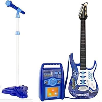 iMeshbean Boys and Girls Electric Guitar Set MP3 Player Learning Toys Microphone, Amp Blue&Pink (Blue): Toys & Games