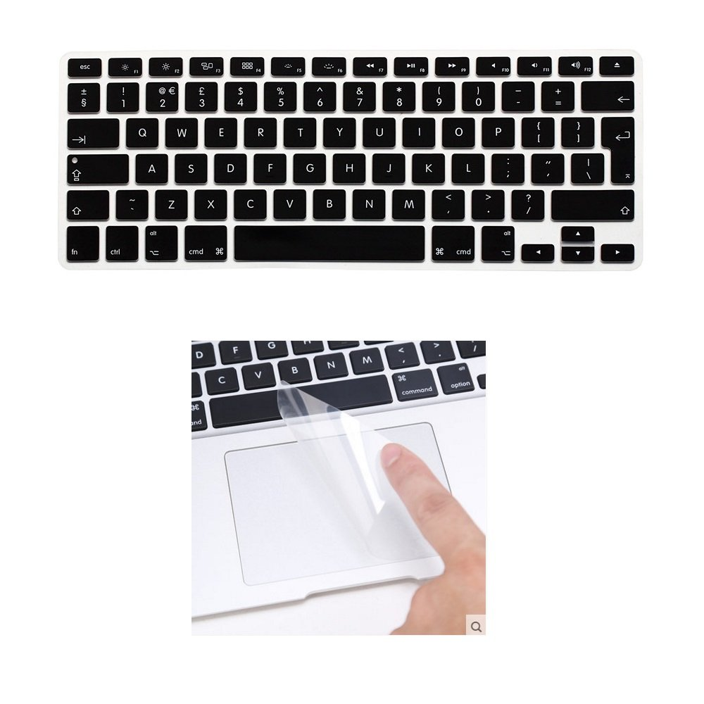 Touchpad Protector EU Layout i-Buy Silicone Keyboard Cover Film for Macbook Air 13 Pro 13 Pro 15 Black