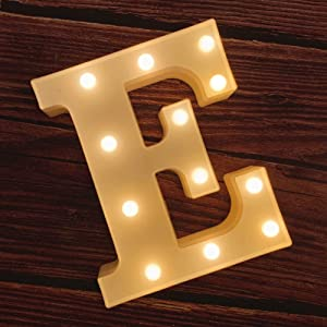 MUMUXI LED Marquee Letter Lights 26 Alphabet Light Up Marquee Number Letters Sign for Wedding Birthday Party Battery Powered Christmas Lamp Night Light Home Bar Decoration (E)