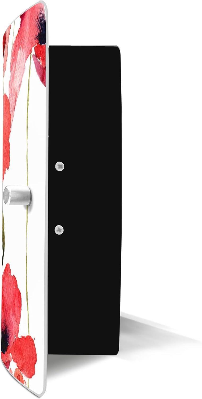 24x21,5cm Motiv Mohn Aquarell banjado Design Schl/üsselkasten aus Edelstahl 10 Haken f/ür Schl/üssel praktischer Magnetverschluss