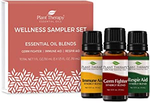 Plant Therapy Wellness Sampler Set - Immune Aid, Germ Fighter & Respir Aid - Pure Essential Oils for Seasonal Threats