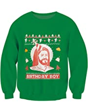 OPCOLV Unisex Jesus Ugly Christmas Sweater Fleece Crewneck Long Sleeve Pullover Sweatshirts Jumpers for Xmas Party Festival