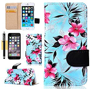 6 Plus Case, iPhone 6 Plus Case, GoodPro™ Popular Fashion [Noble Palace Flowers Design] (Blue), Premium PU Leather Wallet Case Flip Cover with Card Holders for Apple iPhone 6 Plus 5.5-inch, Included (Screen Protector, Stylus and Cleaning Cloth), Apple iPhone 6 Plus Case