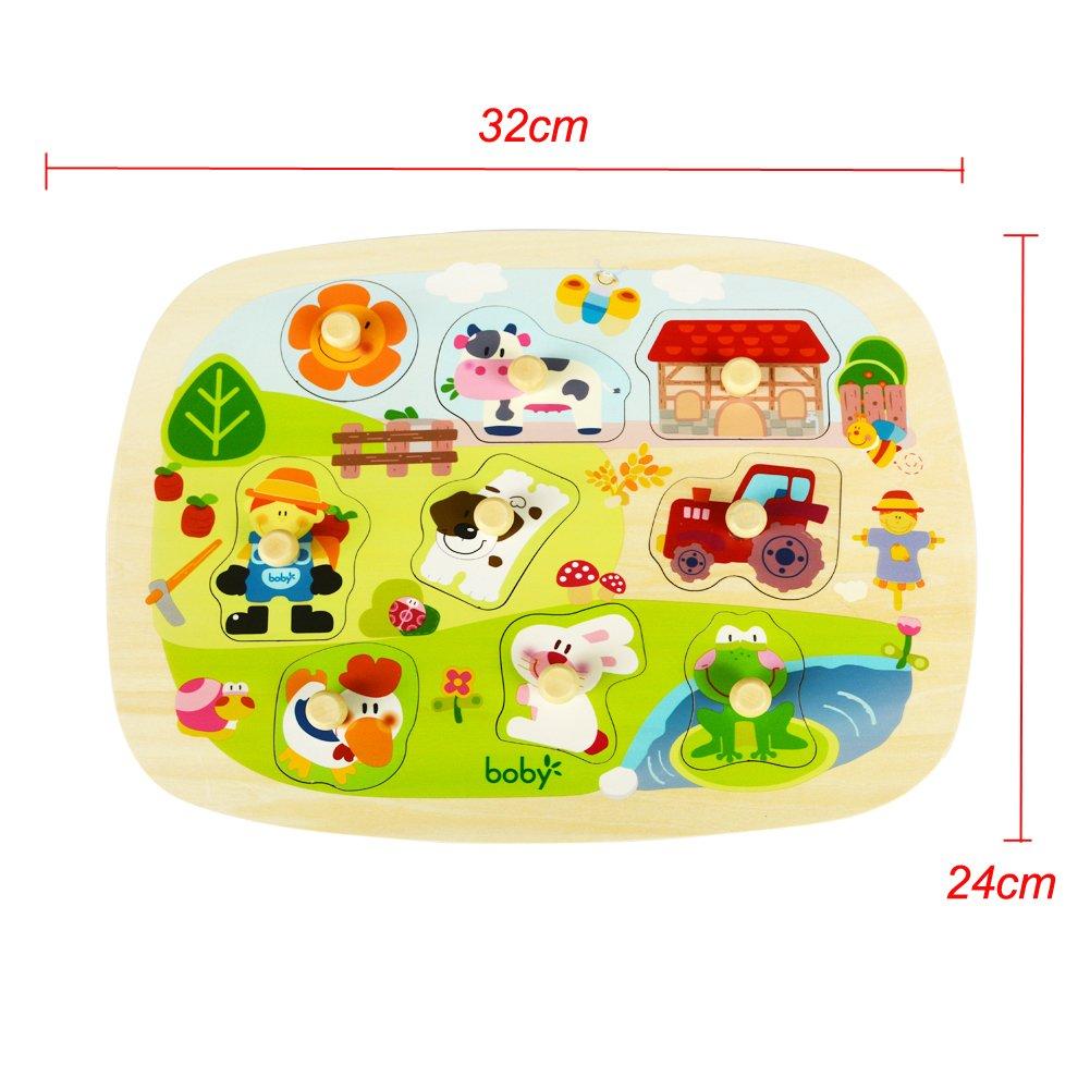 Bobys Wonderland Puzzles Madera Animales de Granja Encajable Juguete para Bebes Infantils 9 Piezas Encaje Siluetas de Madera: Amazon.es: Juguetes y juegos