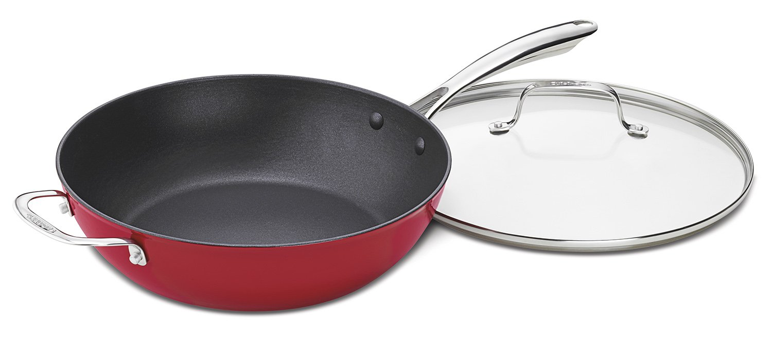 Cuisinart CIL345-30R CastLite Non-Stick Cast Iron Chef's Pan with Helper and Cover, 4.5-Quart, Red