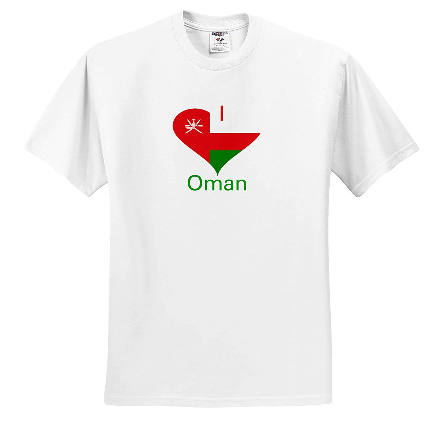3dRose Lens Art by Florene Image of I Love Oman in Coat of Arms Heart T-Shirts Coat of Arms in Heart