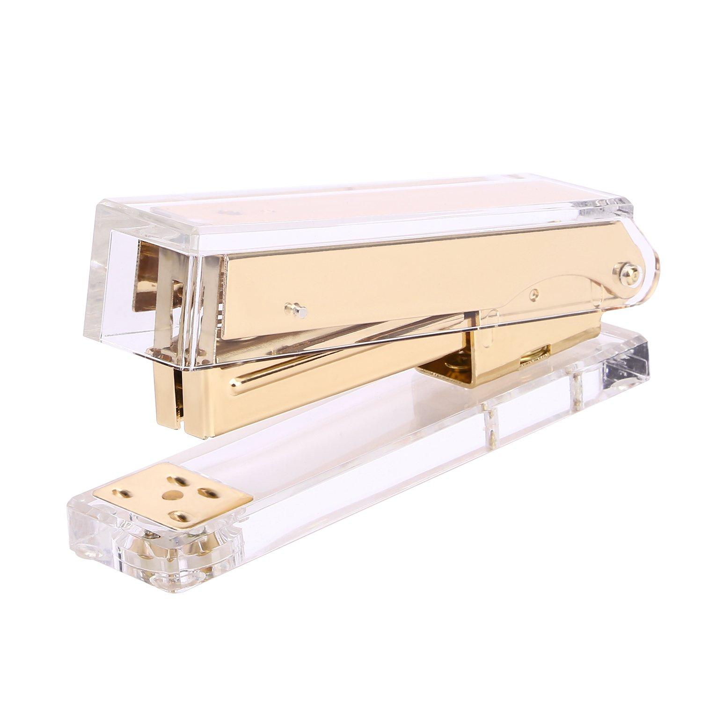 TOROTON Stapler, Commercial Desk Stapler, Acrylic Clear Desktop Stapler with Rose Gold