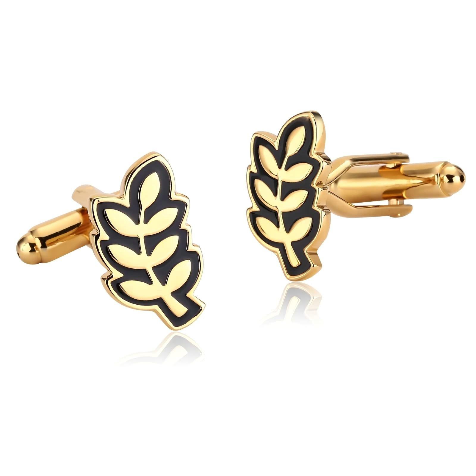 Beydodo Wedding Cufflinks for Groom Cufflinks Stainless Steel Gold Black Olive Branch