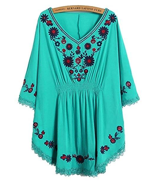 Blusa para Mujer Vestido Étnico Mexicano con Bordados ...