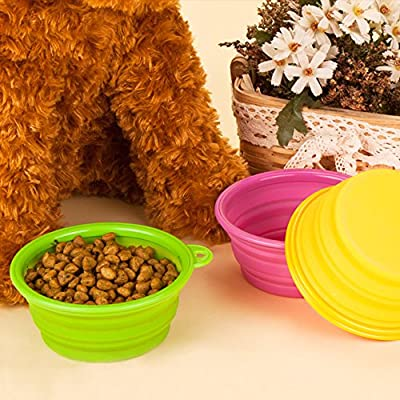 YOBY Collapsible Dog Cat Travel Bowl, 3-Packs Foldable Expandable Food Grade Silicone Dish for Pet Portable Food Water Feeding Container, Small to Medium Dogs Yellow Green Purple Free Carabiner from YOBY