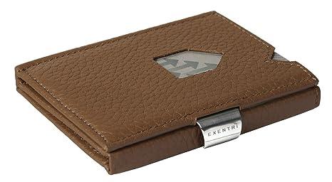 exentri Monedero, para hasta 12 tarjetas de crédito piel Monedero, Braun Struktur (Marrón) - EX032