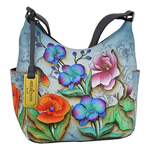 Anuschka Women's Genuine Leather Handbag | Hand Painted Original Artwork | Classic Hobo With Side Pocket | Floral Fantasy