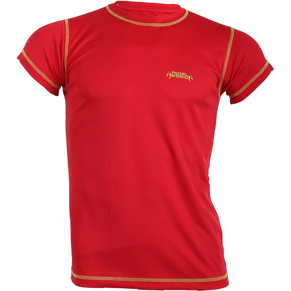Padel Session Camiseta Tecnica Rojo Amarillo: Amazon.es ...