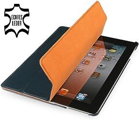 StilGut Couverture, custodia in vera pelle per il Apple iPad 2 con funzione di supporto e smart cover, blu notte, pelle liscia