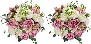 Nuptio FakeFlowerBallArrangementBouquet,Plastic Flower Balls for Centerpieces,SuitableforOurStore'sWeddingCenterpieceFlowerRackforPartiesValentine'sDayHomeDécor (White & Pink)