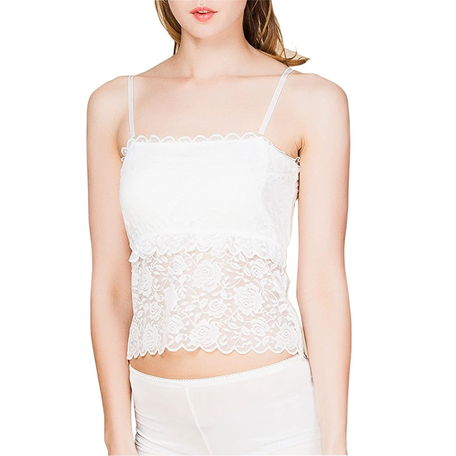 1920s Style Lingerie Paradise Silk 100% Silk Knit Womens Long Lace Tube Top With Removable Strap $16.99 AT vintagedancer.com