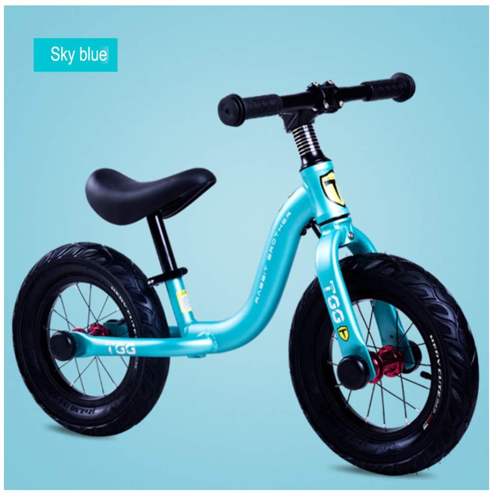 GSDZN - Bicicleta Sin Pedales para Niños, Marco De Aleación De Aluminio, Manillar Ajustable, Altura Y Soporte del Asiento, Rueda De Goma Ensanchada, 2-6 Años, 80-120cm - Versión Deportiva,Blue