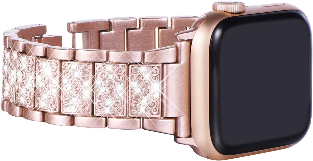 KADES Bling Bands Compatible with Apple Watch Band 38mm 40mm 42mm 44mm iWatch Series 5/4/3/2/1, Dressy Jewelry Metal Bracelet Adjustable Wristband (38mm/40mm, Pink)