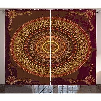 Amazon com: Ambesonne Mandala Curtains, Traditional Ethnic