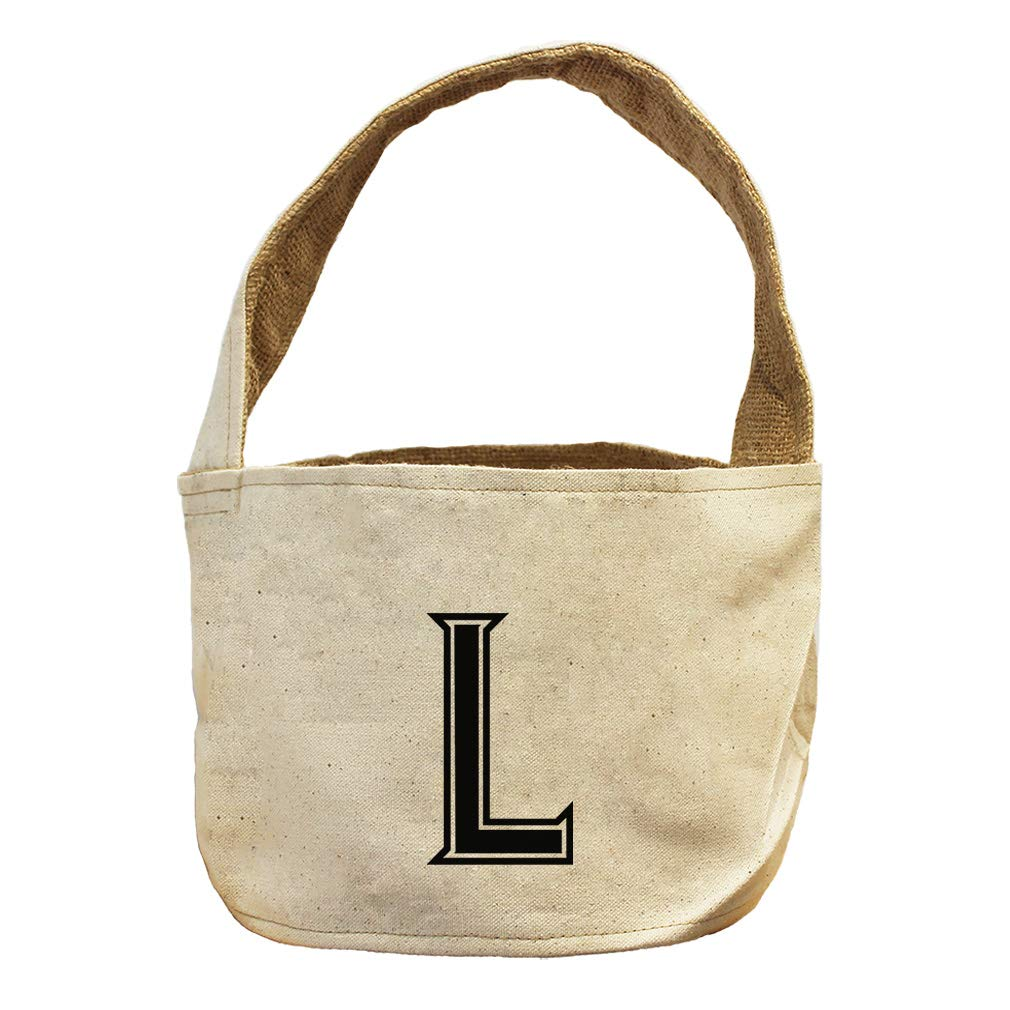 Style in Print L College Font Monogram Letter L Canvas and Burlap Storage Basket