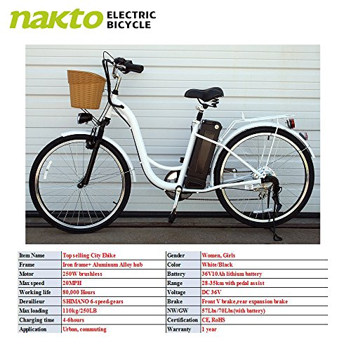 "Nakto 26"" 250W Cargo Electric Bicycle 6 speed e Bike 36V Lithium Battery Aadult/Young Adult Women"