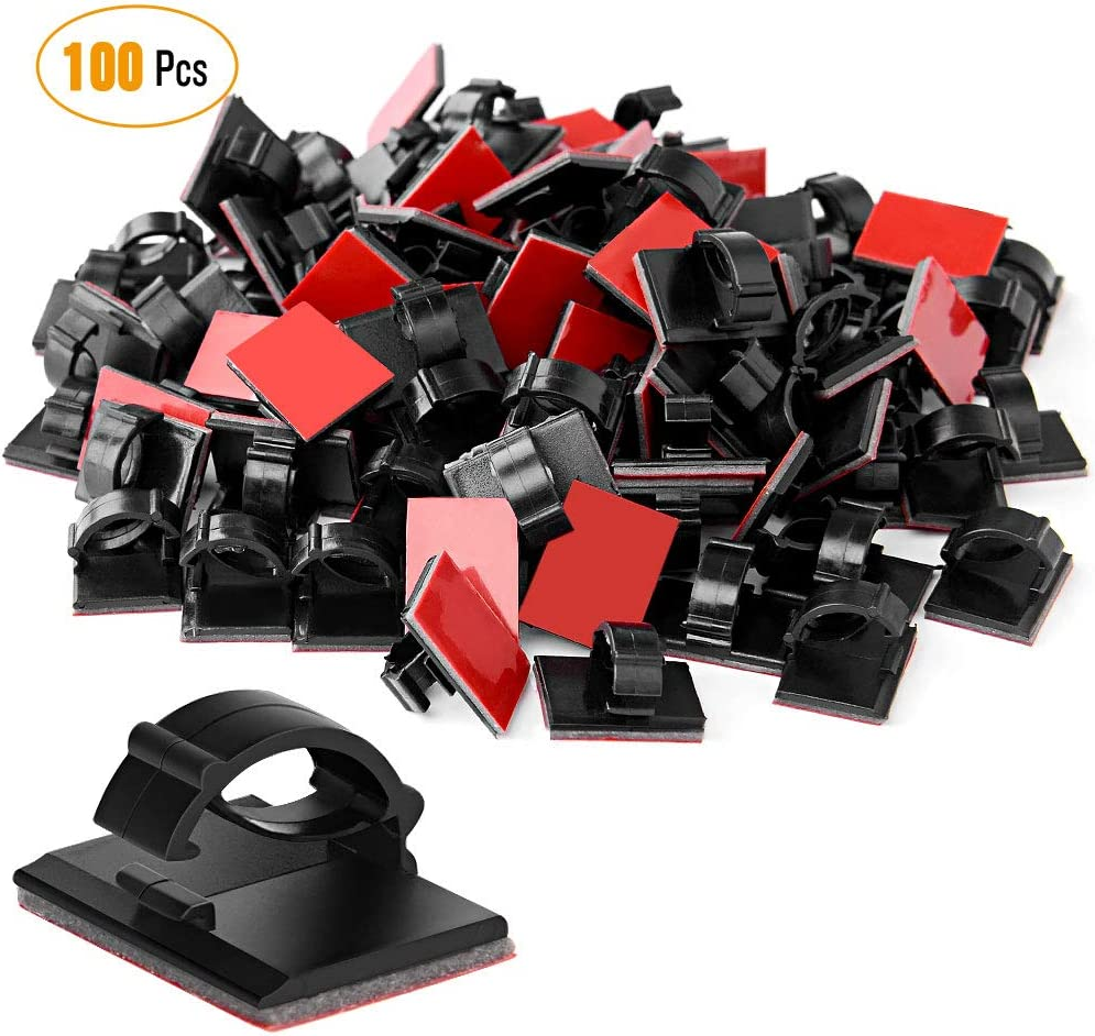 50Pcs Wire Clip Black Car Tie Rectangle Cable Holder Mount Clamp self adhesi HK