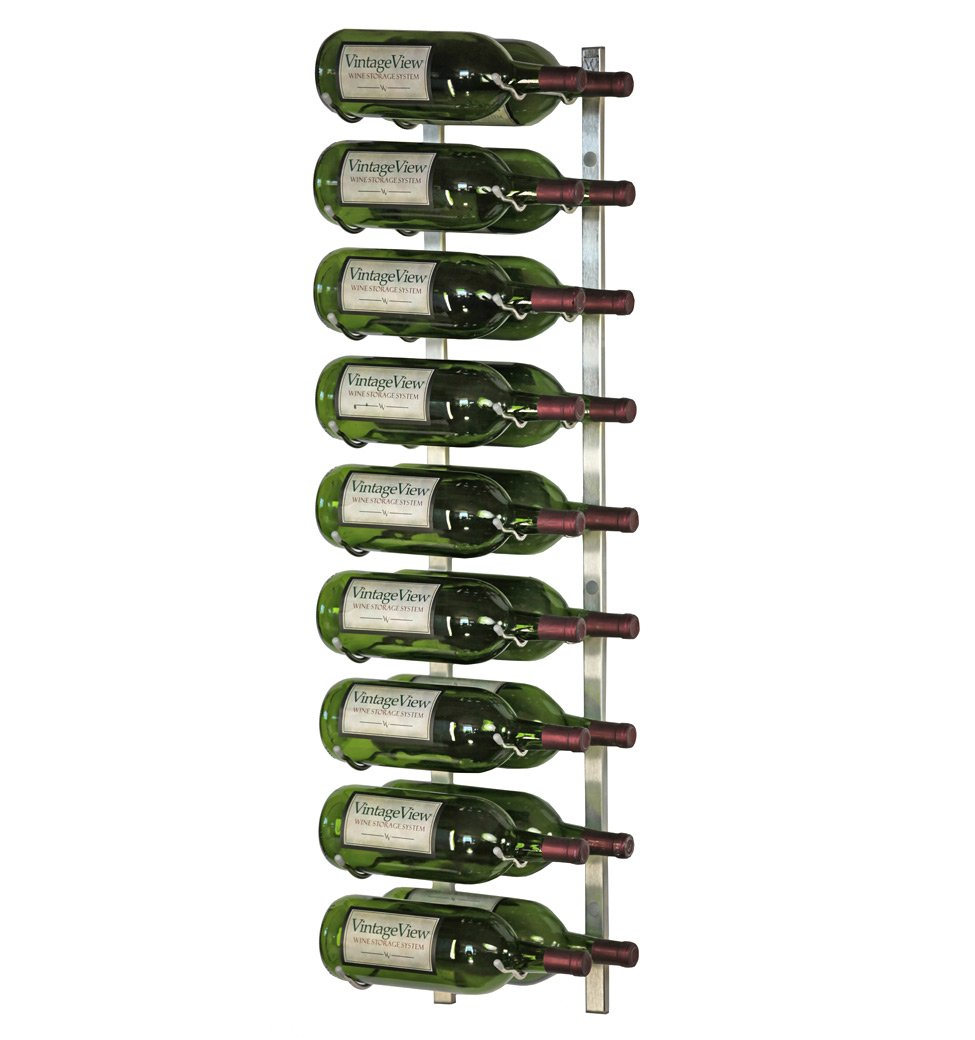 VintageView - WS32-P - 18 Bottle Wall Mounted Metal Hanging Wine Rack - 3 Foot (Brushed Nickel)