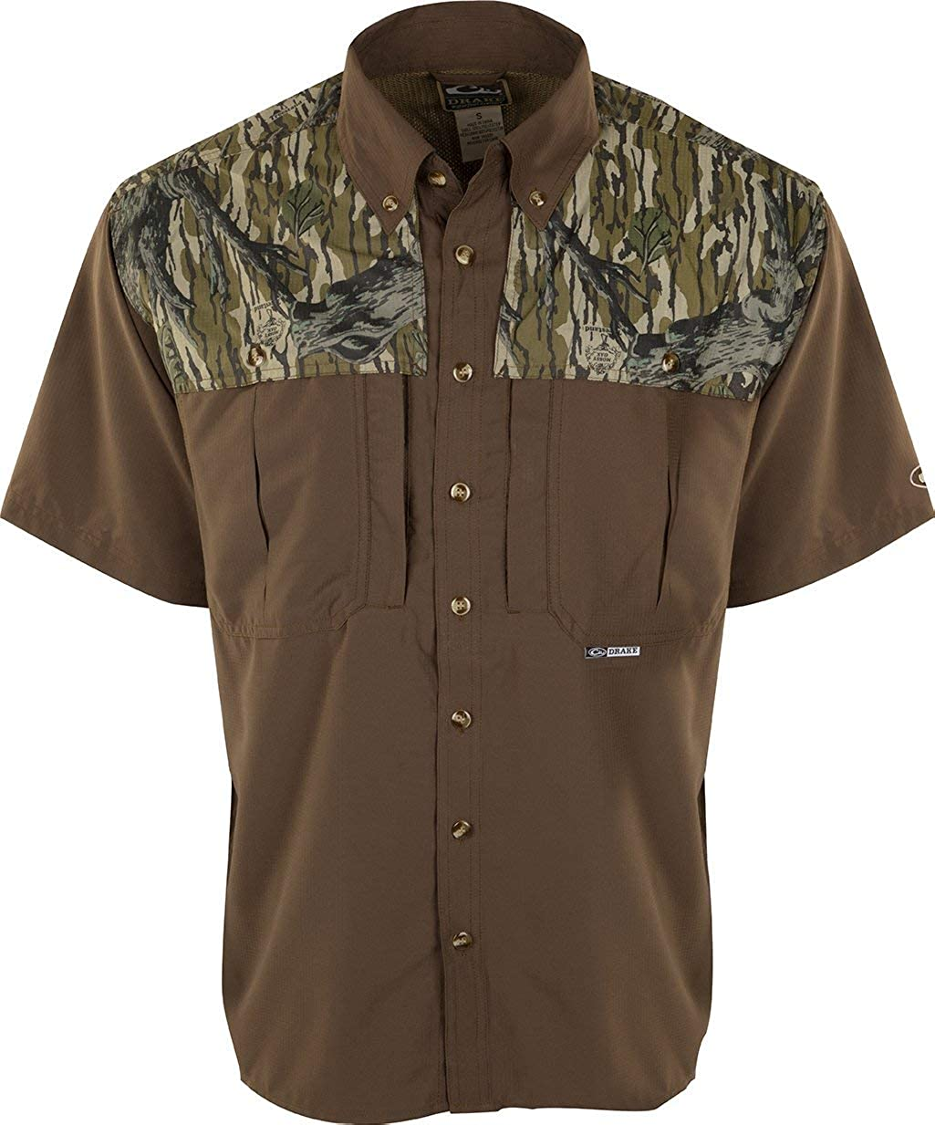 Drake Mens Two-Tone Camo Flyweight Wingshooters Shirt Short Sleeve Polyester