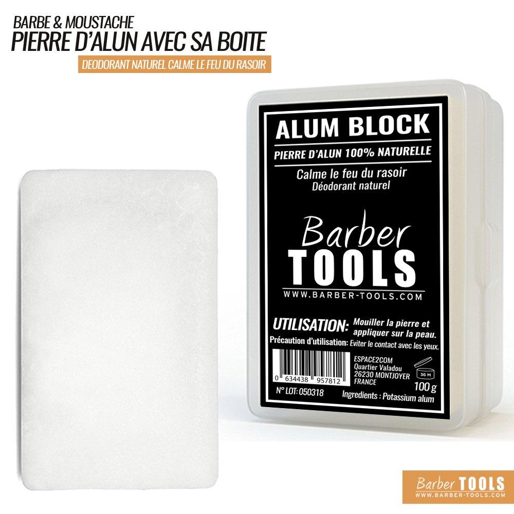 ✮ Barber Tools ✮ piedra de alumbre de potasio 100% natural–100gr–con su recinto de almacenamiento. Después del Afeitado y desodorante natural.