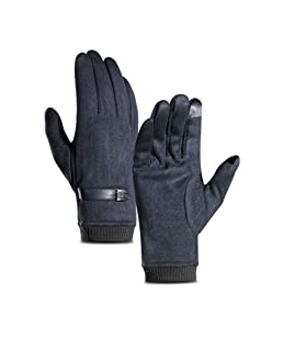 ShiningLove Men Winter Plush Thicken Gloves, Touch Screen Windproof Soft Full Finger Gloves for Cycling Running Mountaineering Outdoor Sports Navy