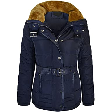 Damenmode Kleidung & Accessoires New Womens Ladies Quilted Winter Coat Puffer Fur Collar Hooded Jacket Parka Size