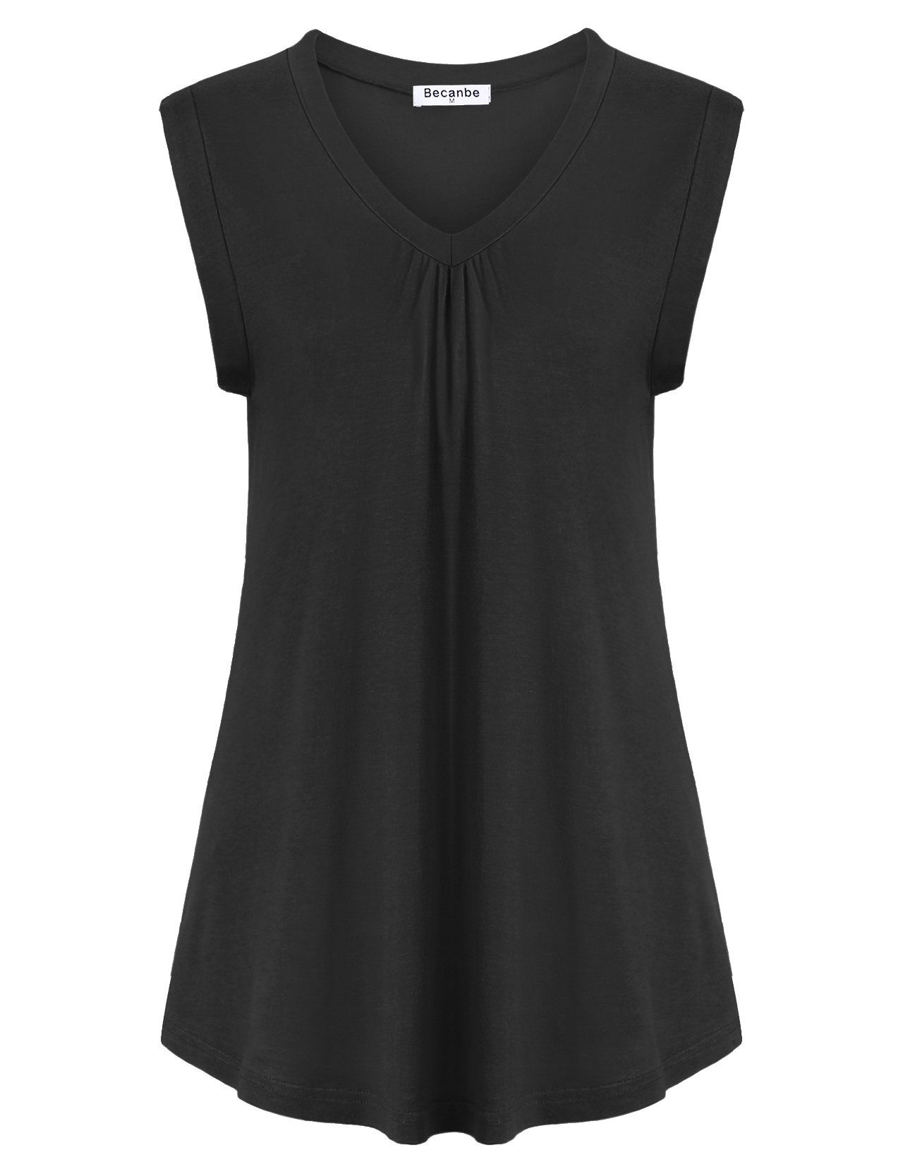 Becanbe Women Tops and Blouses On Sale,Ladies Elegant Pleated V Neck Flowy Flare A Line Ruffled Loose Casual Blouses Flowy Tank Top(Black,X-Large)