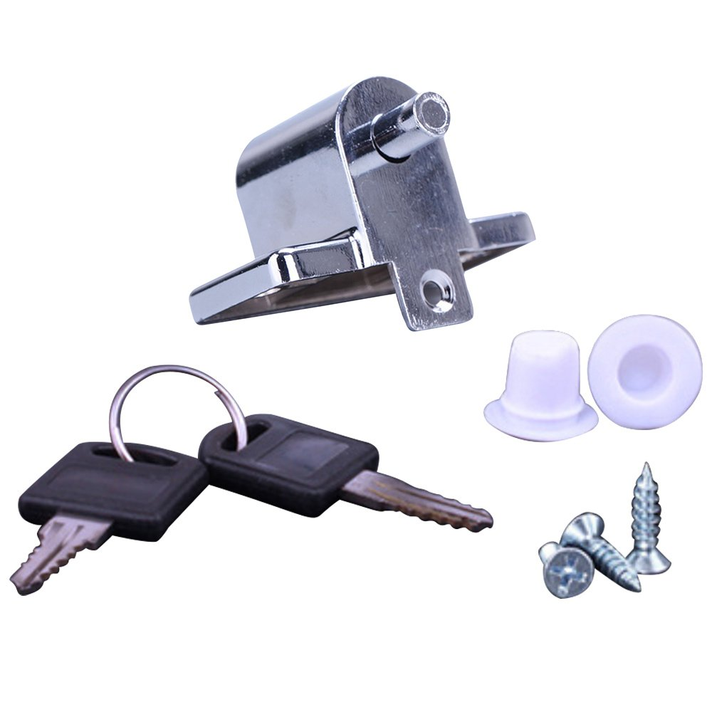 Kids Protection Anti-theft Stainless Steel Sliding Door Window Safety Security Lock Wedge Stopper with Key Gosear