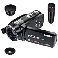 Camera Camcorders Besteker Video Camcorder DV 3.0 TFT HDMI 1080p 24.0 Megapixels16X Digital Zoom LCD Rotation Touch Screen Video Recorder with Remote Control and Face Detection Function + 12x Teleconverter & Wide Angle Lens (UKZ18)