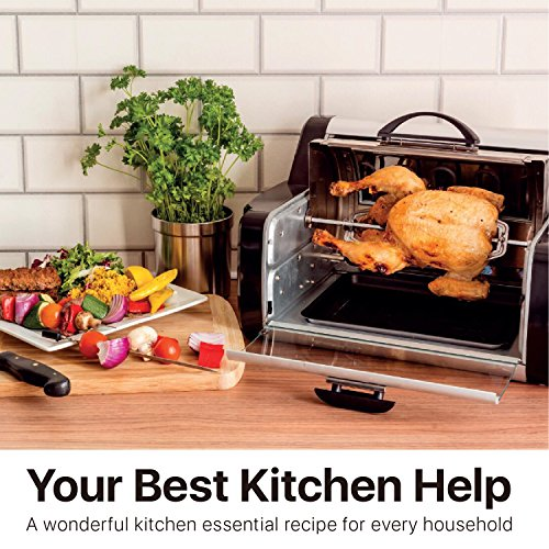 Flexzion Rotisserie Toaster Oven Grill - Countertop Kebab Electric Cooker Rotating Roaster Baking Machine Stainless Steel w/ 7 Kebob Skewers, Heat Resistant Gloves, Bake Ware for Professional & Home by Flexzion (Image #8)
