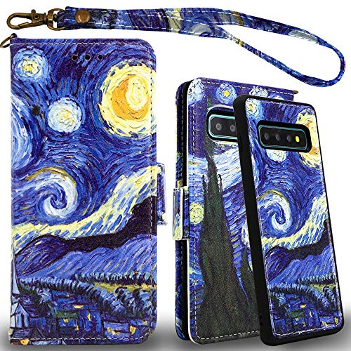 Mefon Galaxy S10 Plus Wallet Case Leather Detachable, Durable Slim, Enhanced Magnetic Closure, with Wrist Strap, Card Slot, Kickstand, Luxury Flip Folio Cases for Samsung Galaxy S10+ (Starry Night)