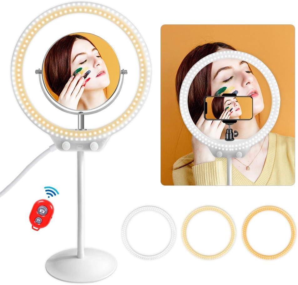 MOUNTDOG 10'' Desktop LED Ring Light with Makeup Mirror,Phone Holder,Soft Tube Stand,Dimming 3 Lighting Modes Camera Ring Make Up Light for YouTube,Facebook,Living Stream,Self-Portrait Shooting