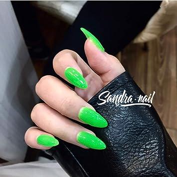 Uñas Postizas - Uñas Postizas Hechas A Mano -Verde Fluorescente + ...