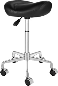 Kaleurrier Ergonomic Rolling Swivel Saddle Stool with Wheels,Hydaraulic Pneumatic Lifting Height Adjustable Lightweight Chair for Clinic Spa Beauty Hair Salon Massage Lab Kitchen Home Office (Black)