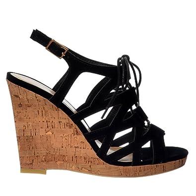 36eea3812f1d Onlineshoe Women s Open Toe Gladiator Lace UP Cork Wedge Heel Sandal UK3 -  EU36 - US5