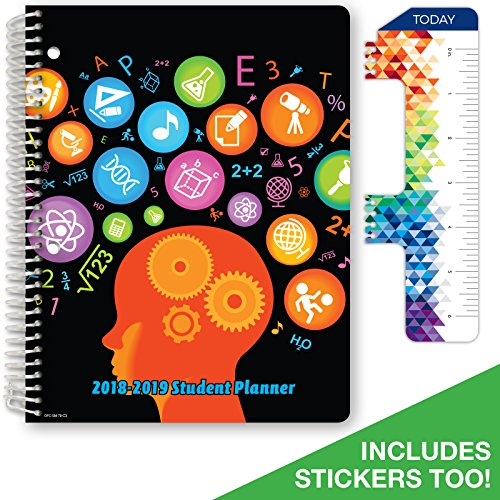 Dated Middle School or High School Student Planner for Academic Year 2018-2019 (Matrix Style - 7x9 - Subjects Cover) - Bonus Ruler/Bookmark and Planning Stickers