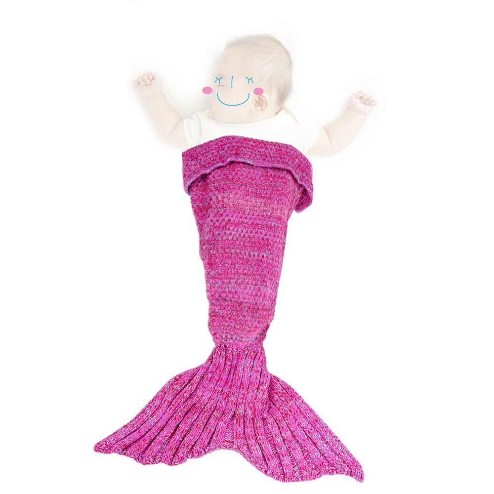 Genmine Mermaid Tail Blanket Crochet Knit Mermaid Blanket for Baby Swaddling Sleeping Bag, for Baby Photo Photography Soft and Warm for All Seasons 35.4inx19.6in (Pink)