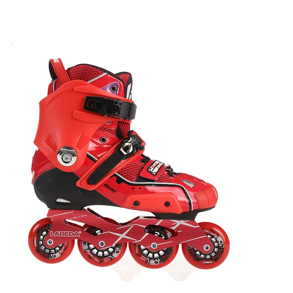 YANGXIAOYU Inline Skates, One-Piece Design Inline Skates Set Blue Red Suitable for Men and Women Boys Girls (Color : Red, Size : 41 EU/8 US/7 UK/25.5cm JP)