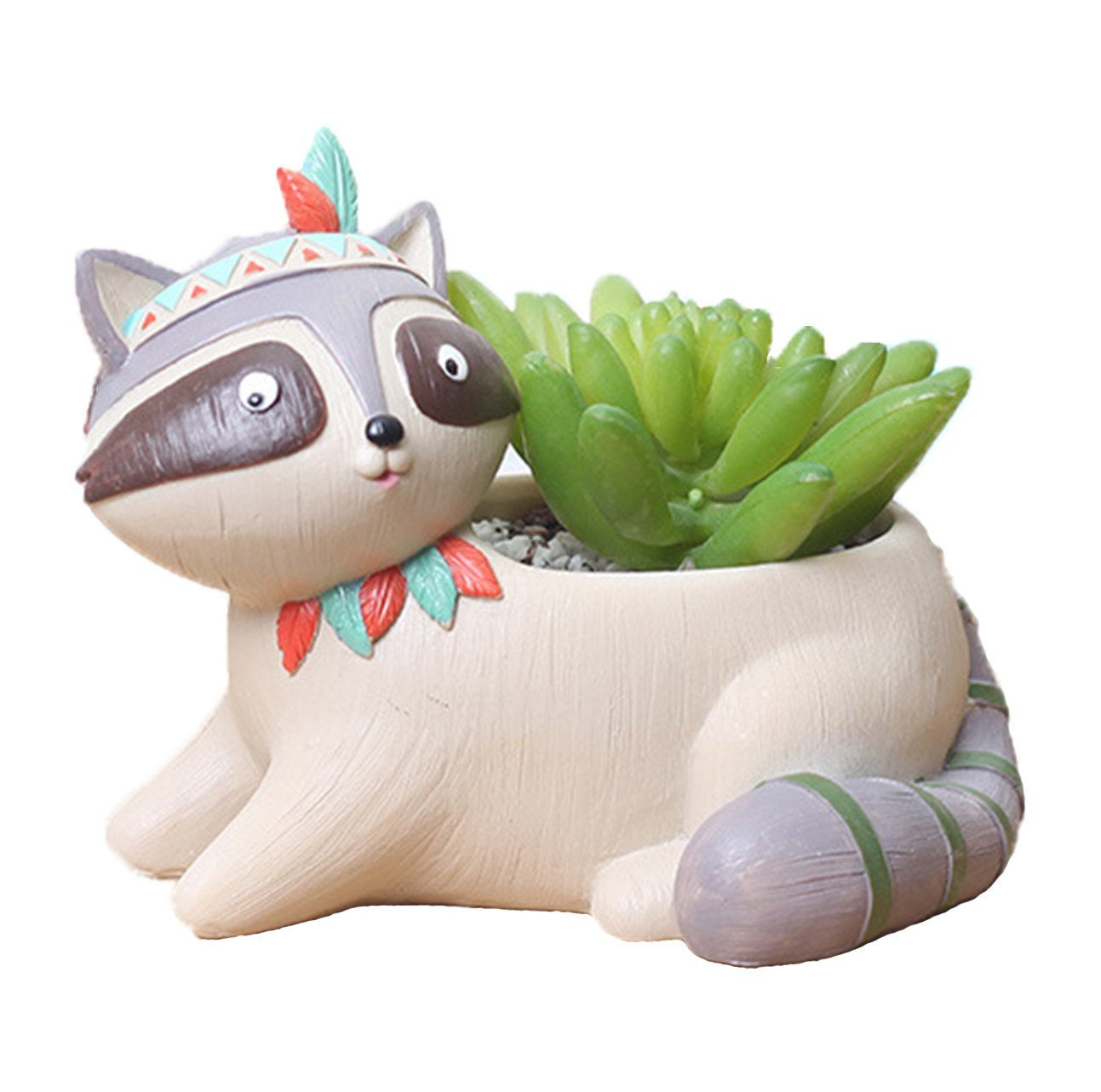 Youfui Home Decor Pot, Animal Succulent Planter Flowerpot for Home Office Desk Decoration (Lively Raccoon)
